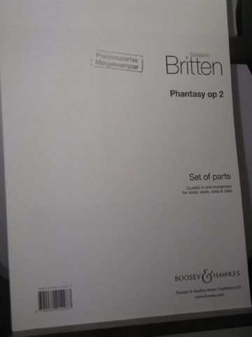Britten B - Phantasy Op 2 for Oboe Violin Viola & Cello